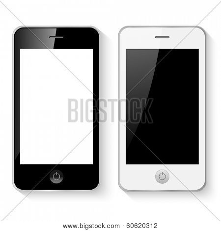 Black and white mobile smart phones vector illustration isolated