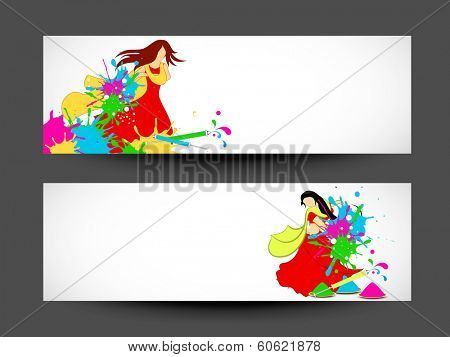 Beautiful header or banner set design with illustration of a beautiful girl in traditional dress on grey background.