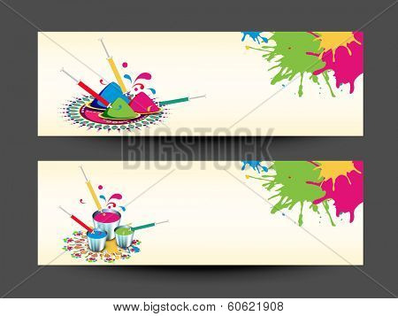 Beautiful header or banner set design with colour splash and pichkari on abstract background.