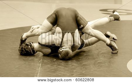 Two Men Battle for Control in Wrestling Match