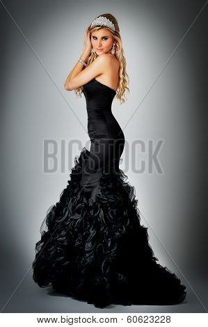 Beauty Queen In Ball Gown Dress.