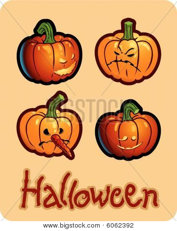 halloween's drawing - four pumpkin heads of Jack-O-Lantern ; one has a carroted-nose
