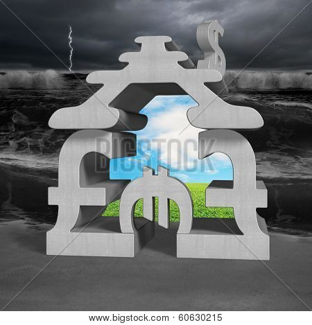 Money symbols stacking building with billow and beautiful landscape