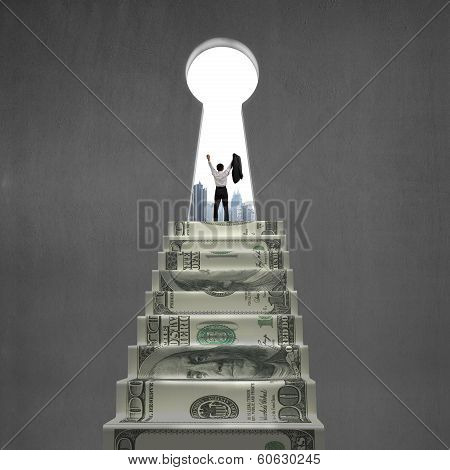 Cheering On Top Of Money Stairs With Key Hole