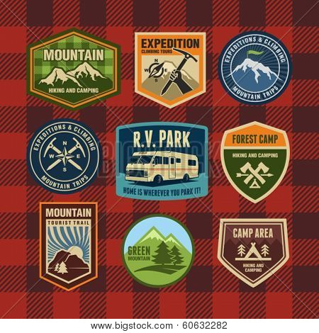 Vintage camping and hiking badges