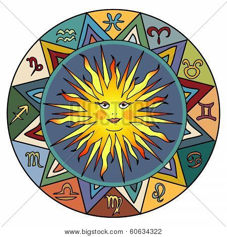 Horoscope and zodiac signs with sun in center