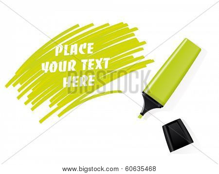 Realistic green felt tip marker vector with scribbled space for text. Realistic green marker and cap on white background. Scribbled field for text.