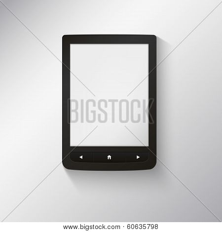 e-book reader. You may add your own text or picture.