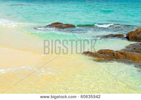 Sand Beach With Rocks. Koh Samet, Gulf Of Thailand