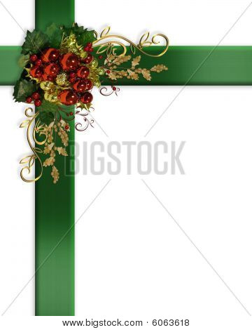 Christmas border elegant ribbons
