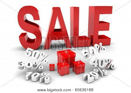 Red Sale And Falling Discount