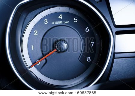 Fragment Of Instrument Panel Of Car Speedometer, Tachometer.