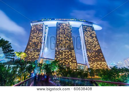 Night View At Marina Bay Sands Resort Hotel In Singapore