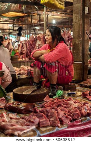 Khmer Woman Selling Meat At Traditional Food Market