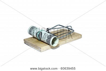 Charged Mousetrap With Bait In The Form Of Hundred Dollar Bills