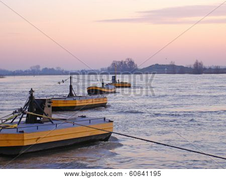 Floaters Of Cable Anchor Of Ferry In River Rhine