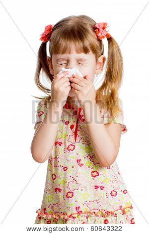 Child Girl Wiping Or Cleaning Nose With Tissue Isolated On White