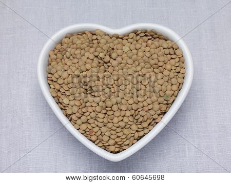 Le Puy Green Lentils In A Heart Shaped Bowl