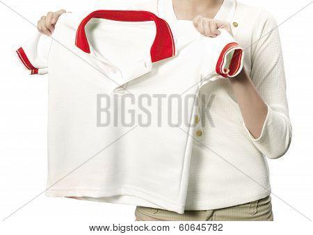 Maid holding a clean white shirt