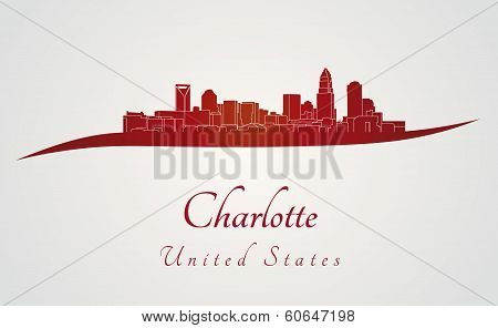 Charlotte Skyline In Red