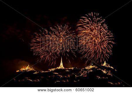 Khao Wang Festival With Firework.