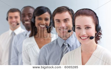 Businesswoman Working In A Call Center In A Line