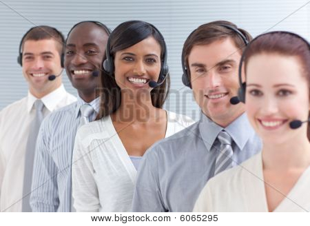 Indian Businesswoman Working In A Call Center In A Line