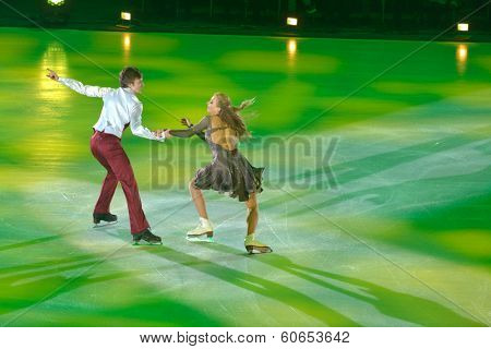 MOSCOW, RUSSIA - FEBRUARY 24, 2014: Victoria Sinitsina and Ruslan Zhiganshin in action during Gala concert of Olympic champions in figure skating in Luzhniki