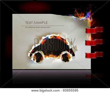 Car, Ripped paper collection and flames