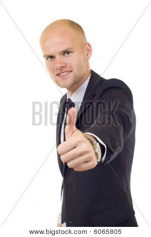 Young Businessmen Making His Thumb Up Saying Ok