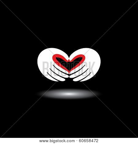 Love Symbol Or Heart Shape From Hands Of Two People - Concept Vector
