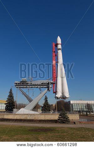 Rocket Vostok On Clear Sky Background