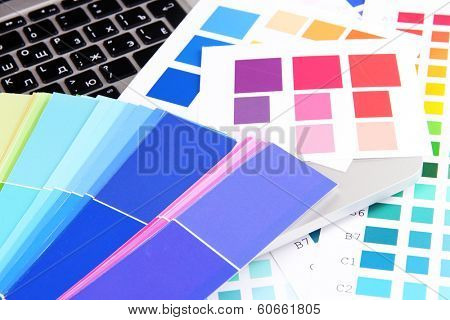 Color samples on keyboard close up