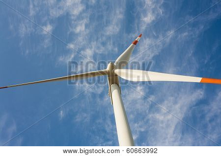 Propeller wind turbine in the frame.