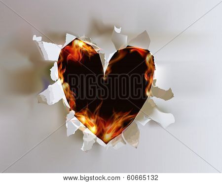 Ripped paper collection and flames,