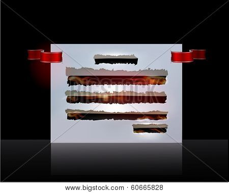 Ripped paper background with fire