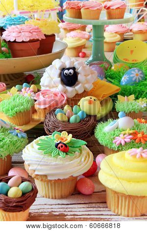 Easter cupcakes and Easter eggs display. Also available in horizontal.