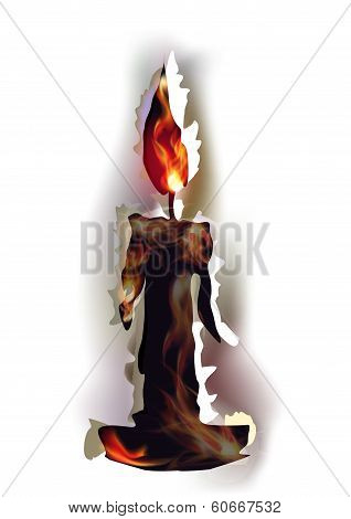 Ripped paper collection and flames, Candle