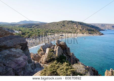 Famous Palm Beach Of Vai, Island Of Crete, Greece
