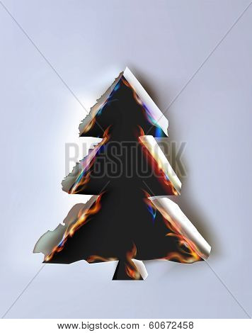 Christmas tree, Ripped paper collection and flames