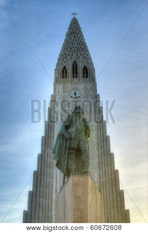 Hallgrimskirkja Cathedral And Leif Eriksson In Reykjavik , Iceland