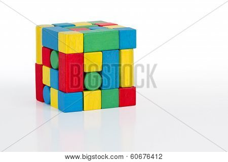 Jigsaw Puzzle Cube Toy, Multicolor Wooden Pieces, Colorful Game Bricks