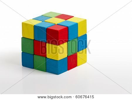 Jigsaw Puzzle Rubik Cube Toy, Multicolor Wooden Colorful Game Pieces