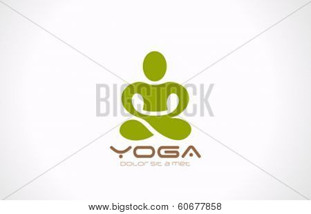 Yoga pose vector logo design template. Beauty, Spa, Relax, Massage, Meditation concept icon.