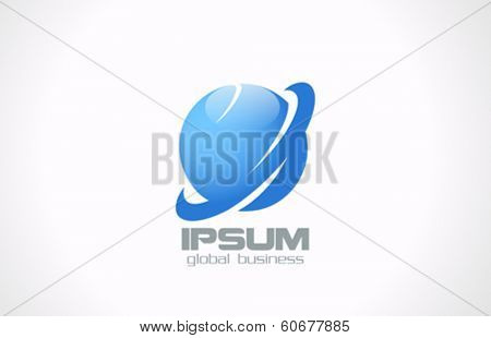 Global Corporate Business abstract vector logo design template. Jupiter, Earth planets symbol icon