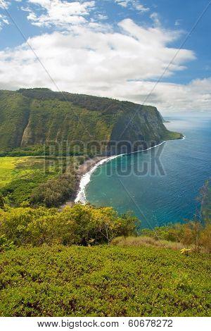 Waipio Valley Lookout Sign On Hawaii Big Island