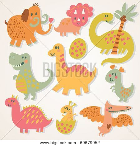 Ancient cartoon set in vector. Funny dinosaurs with mammoth in childish style