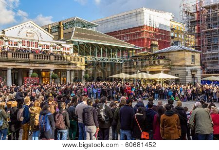 Crowds outside Covent Garden Market
