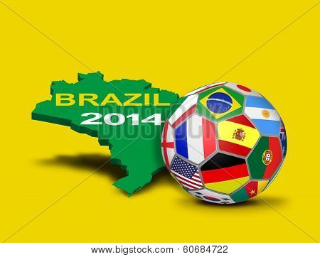 Soccer Ball With Team Flags And Brazilian Map