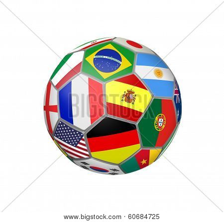 Soccer Ball With World Cup Teams Flags